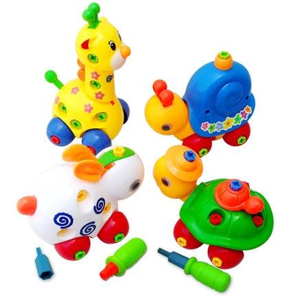 Baru kit bangunan jenis yang berbeza Kartun binatang pemasangan gabungan gabungan mainan pendidikan mainan disassembly anak hadiah anak lelaki hari
