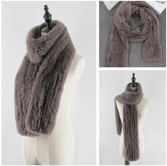 Genuine Rex Rabbit Fur Women's Long Knitted Scarfs Scarves Wraps Soft Warm