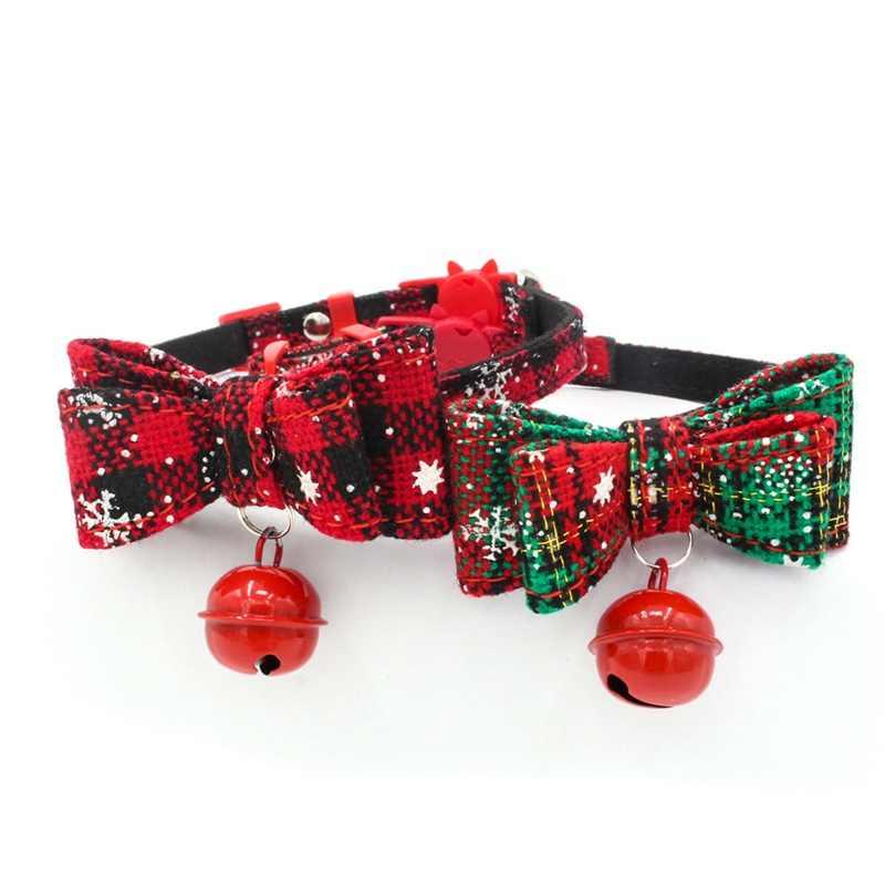 Natal gato colar com sino gatos gatinho dupla camada bowknots pet ajustável gatinho natal pet colar para presente de natal