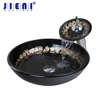 Artistic Basin Sink Faucet Hand Painting Modern Tempered Glass Vessel Vanity Bathroom Basin Faucet Mixer Tap