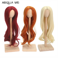 High Temperature Fiber Light Blonde Long Loose Curly Halve Doll Hair For 1/3 1/4 1/6 BJD SD Red/Gray/Golden/Orange/White Color
