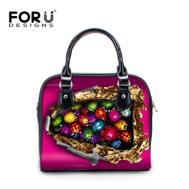 Fourdesigns 2017 Luxury Handbags Women S Leather Totes Ladybug Printing Las Shoulder Crossbody Bags Multi