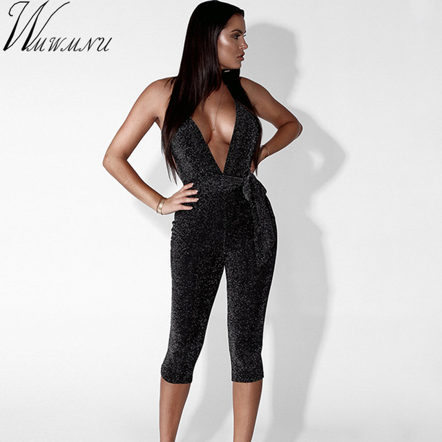 37191d7e4d7 Hollow out women jumpsuit romper flash deep V neck sexy translucent romper  summer fitted fashion backless