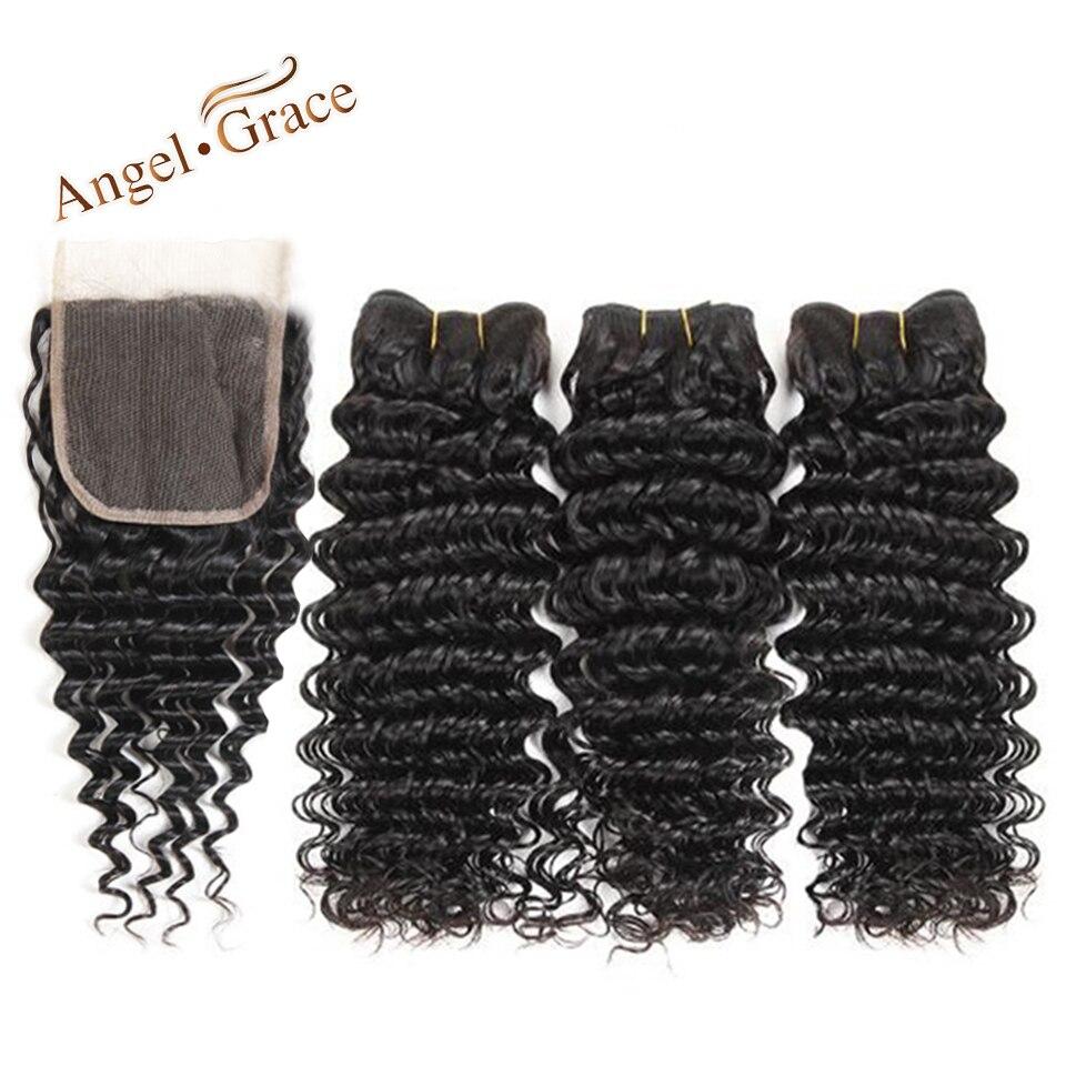 Angel Grace Hair Peruvian Deep Wave Bundles With Closure Remy Hair 3 Bundles With Closure Natural Color Human Hair Bundles