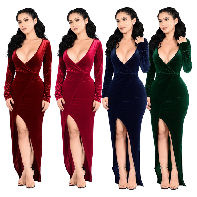d16d103ef26c Winter Club Velvet Dress Christmas fashion high slit dress celebrity maxi  Long Sleeve red grey navy Plunge Neck Party Dress