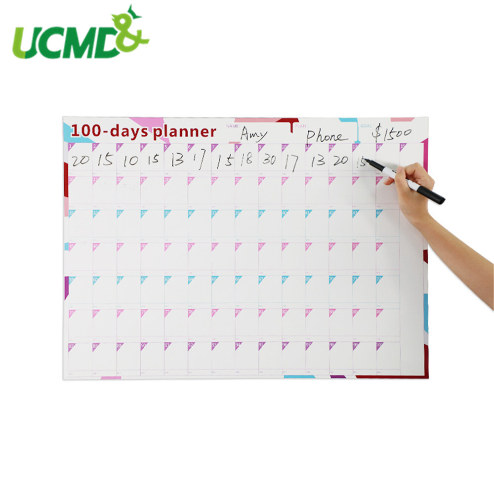 100 Days Paper Wall Calendar Office Agenda Daily Planner Kids Learning Schedule Periodic Planner 70*50cm Office School Supplies