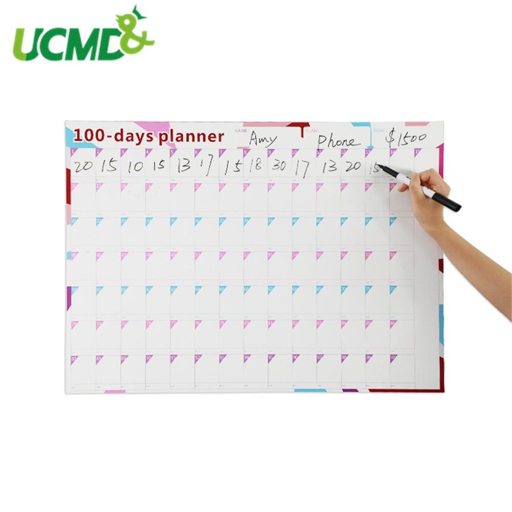 100 jours papier mur calendrier bureau Agenda quotidien planificateur enfants apprentissage calendrier périodique planificateur 70*50cm bureau fournitures scolaires