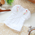 Free shipping Retail new 2013 summer children clothing kids tops girl t-shirts baby short sleeved embroidery shirt girls blouse
