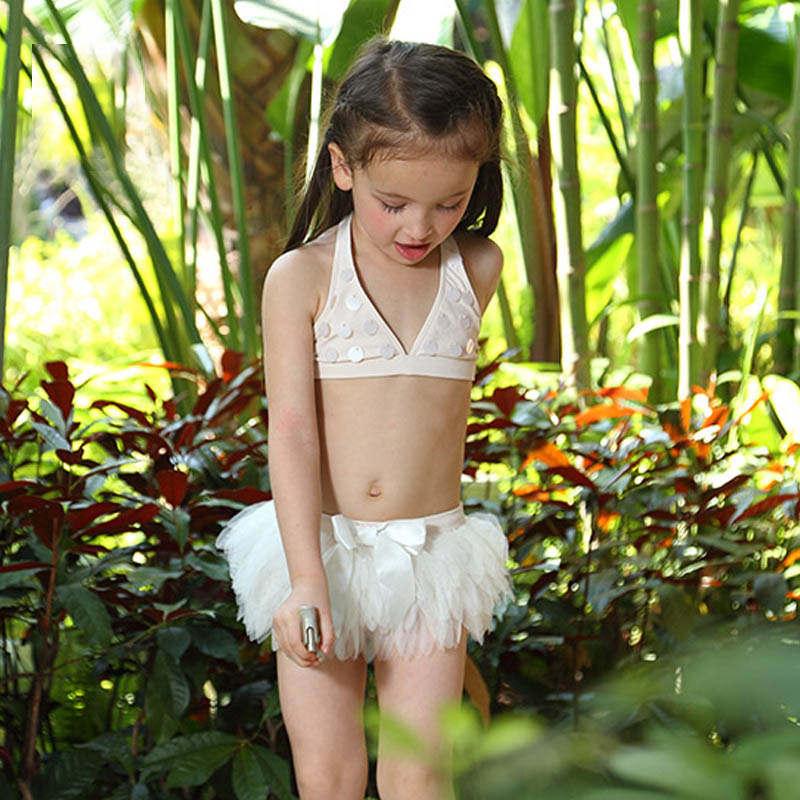 Swimsuit for Girls Cartoon Swan split  skirt type split  Bikini Set kids 2-piece  Sequin bikinis with cap split front wales check skirt