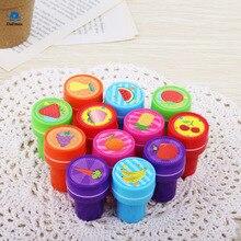 12 Pçs/lote Crianças Crianças Plástico DIY Carimbos de Borracha Auto Tinta Carimbo De Frutas Brinquedos