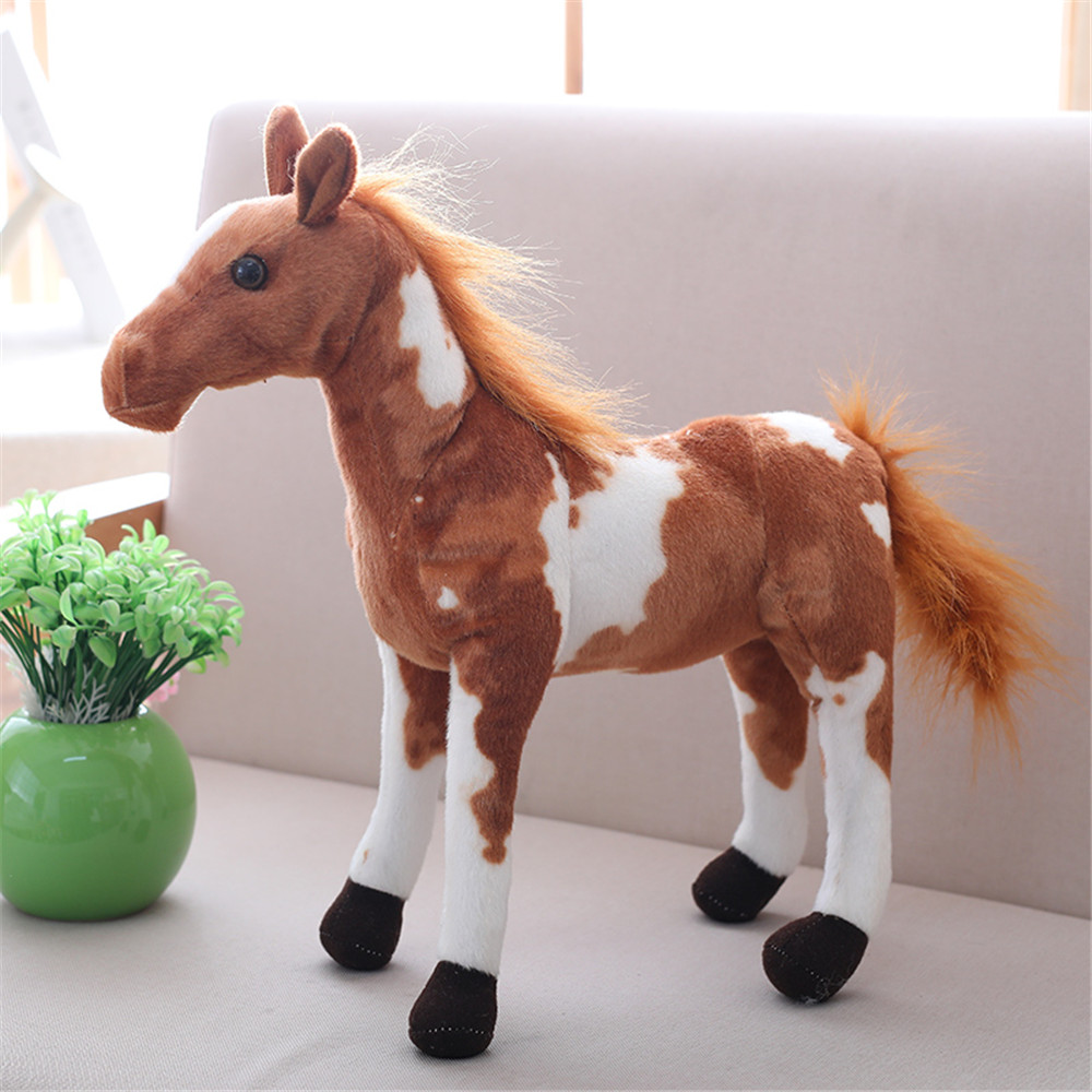 30-50cm High Quality Simulation Horse Plush Toy Realistic Horse Animal Plush Doll Creative Plush Toy Baby Kids Gifts