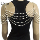 BC-491 gold Color Simulated pearl wedding shoulder necklace, pearl body Jewelry, bride, wedding accessories New
