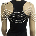BC-491 gold Color Simulated pearl wedding shoulder necklace,  pearl body chain, bride, wedding accessories New