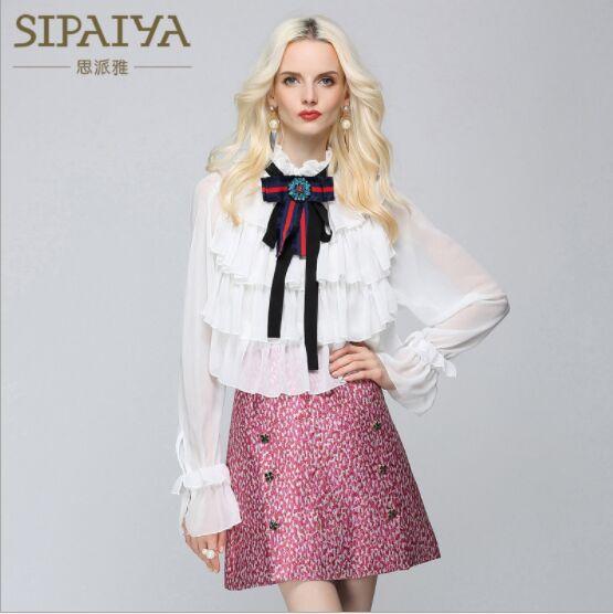 High Quality 2019 New Lady Bow Chiffon Shirt Vintage Women Work Office Lady Wear Blouse Diamond Beaded Slim Shirt for Women Tops