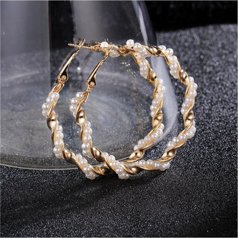 New Pearl Hoop Earrings for Women Exaggerates