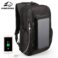 KINGSONS Solar Power Charging Waterproof Laptop Backpack For 15 Inch Computer Men And Women Anti Theft