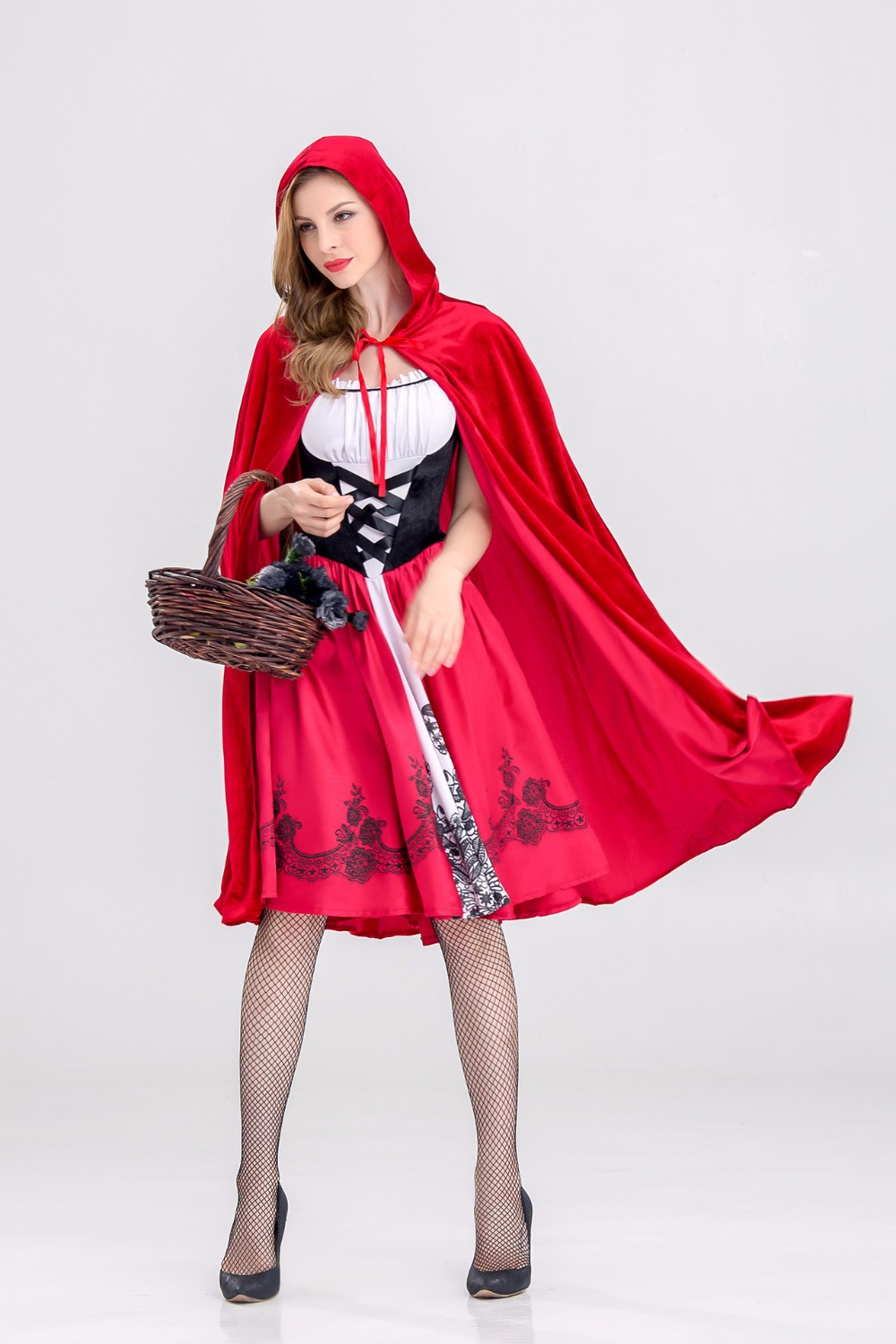 Women Little Red Riding Hood Costume Cosplay Fairy Tale Fancy Dress Halloween