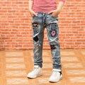 Детская одежда детские брюки 2016 весной ребенок мужского пола джинсы брюки большой мальчик упругие тощий моды брюки