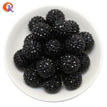 R46 Cordial Design 20MM 100 Pçs/lote Preto Chunky Resina Rhinestone Contas Chunky Beads Para Colar Fazendo CDWB 516035