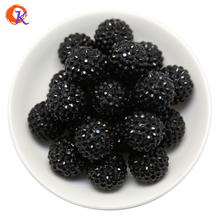 R46 Cordial Design 20MM 100Pcs/Lot Black Chunky Resin Rhinestone Beads Chunky Beads For Necklace Making CDWB 516035