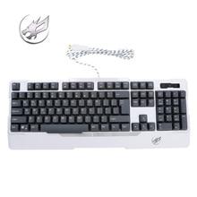 Warwolf Steel Shaft Semi Mechanical Wired Mechanical Keyboard Rainbow Backlight Waterproof Gaming Keyboard for PC Laptop Gamer