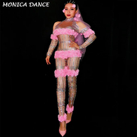 Sexy Stage Pink Flowers Jumpsuit Rhinestones One Piece Big Stretch Costume Women's Birthday Outfit Stage Singer Dance Costumes