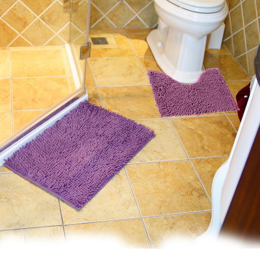 2PCS /Set Chenille Bath Rug Set Anti Slip Bathroom Floor Mat(China (