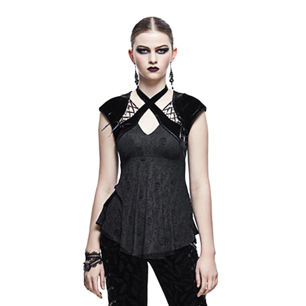 Gothique femmes Slim t-shirt Steampunk à manches courtes chemise crâne imprimé à lacets licou décontracté hauts
