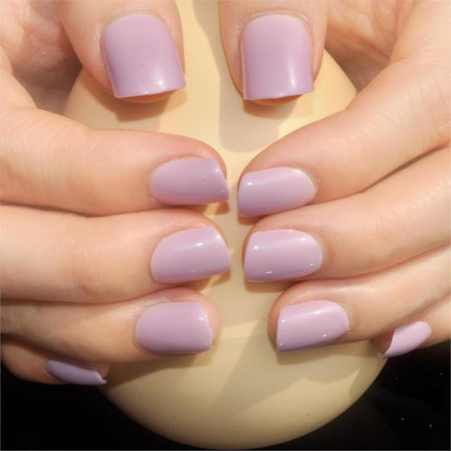 24 Pcsset Hot Candy Light Purple Pink False Nail Art Design Tips