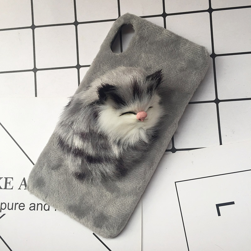 Lovely DIY Cat Furry Warm Phone Cases For iPhone X 8 Plus Hard PC Plush hair Fur Cover for iPhone 6 6S Plus 7 8 Christmas Gift (9)