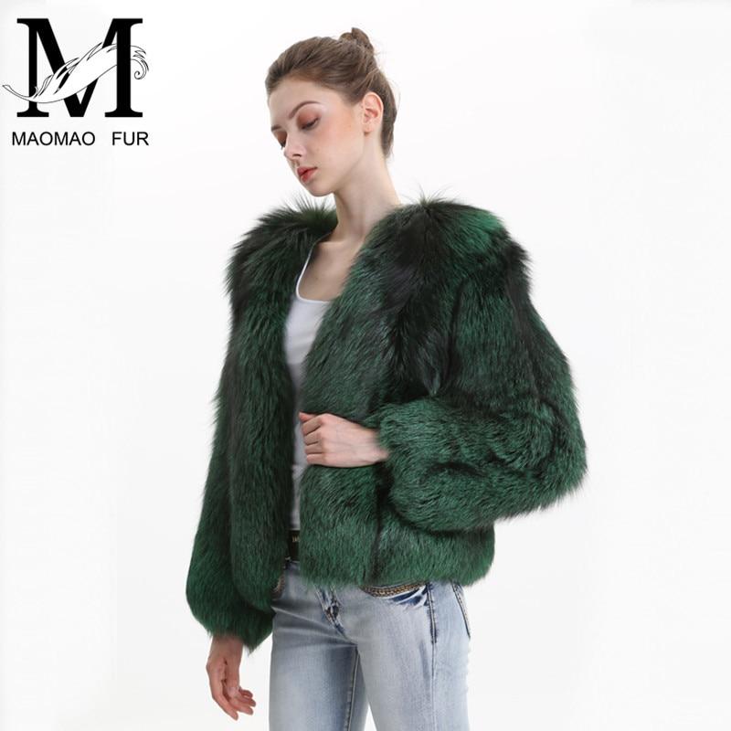 De Réel Fox natural Silver Chaud Renard Naturelle Pardessus Vêtements Fourrure Épaisse Couleur Manteau Green Femelle Hiver Veste Femmes qEwzdq