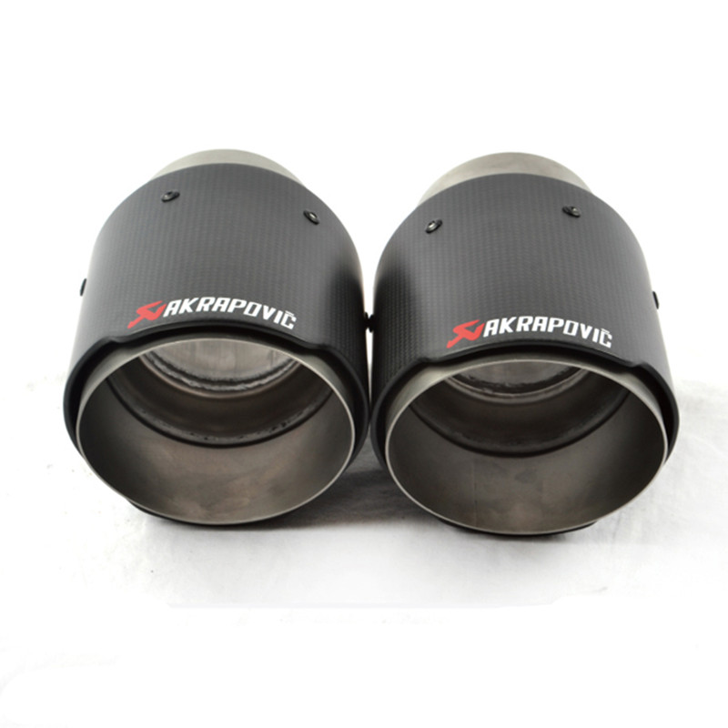 Universal AKRAPOVIC Exhaust Tip Muffler Pipe Carbon Fiber 63mm inlet 89mm outlet