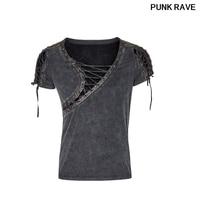 Steampunk Asymmetric Neck Personality Cropped T shirt fashion stylish rock steam men casual t shirt punk Rave T 463