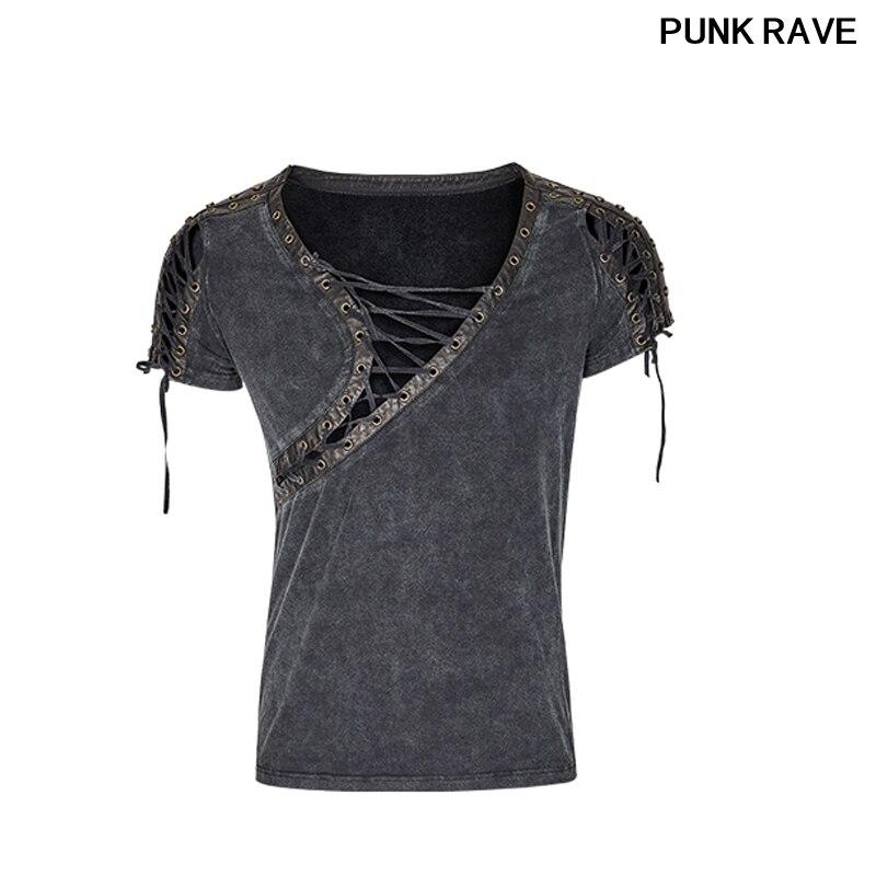 Steampunk cuello asimétrico personalidad recortada camiseta moda elegante rock vapor casuales de los hombres t camisa punk Rave T-463