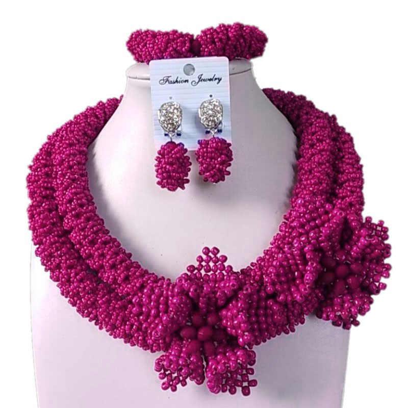 Dudo חנות תכשיטים סטי 2 שכבות מודגשים אפריקאים שרשרת לנשים חרוזים פרחי תלבושות קולר תכשיטי סט יוקרה 2019