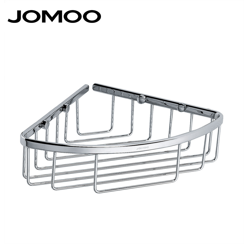 ФОТО JOMOO Brass Chrome bathroom corner shelf basket Bathroom Shelves wall mounted Shower Shampoo Soap Cosmetic Bathroom Accessories