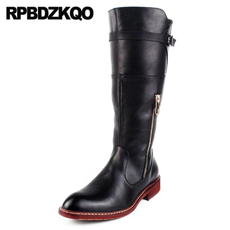 aa81fc45b70c8 red Long Hommes Black Pointu Chaussures Noir Automne Hautes Bout Haute Moto  Chunky En Fermeture Cuir Métalliques Éclair Genou ...