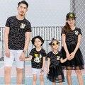 2017 moda família set topos de algodão + malha inferior vestidos de mãe e filha roupas pai filho clothing o-neck camisetas família 3xl zl29