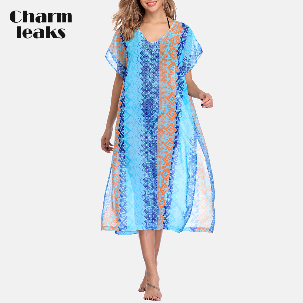 Charmleaks Women Beach Cover Up Kaftan Bikini Chiffon Tassel Cover-Ups See-through Swimsuit Women Swimwear Sexy  Bathing Suit