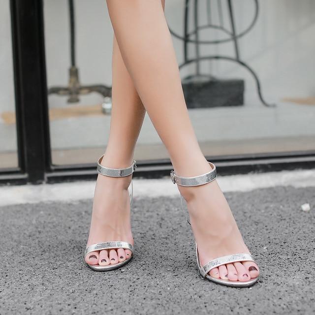 1a8e76265fa182 Woman Sexy Silver High Heel Sandals 2018 New Summer Women Shoes Elegant  Stiletto Open Toe Heels