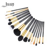Jessup Pro 15pcs Makeup Brushes Set Powder Foundation Eyeshadow Concealer Eyeliner Lip Brush Tool Black Gold