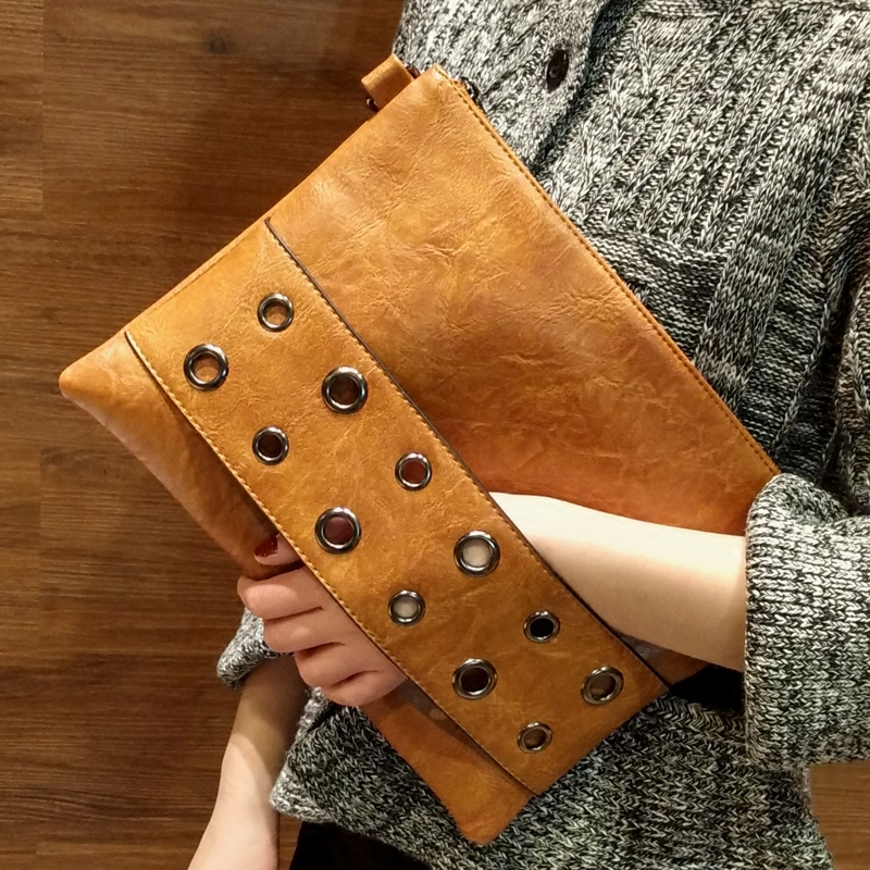 Fashion Rivets Women Envelope Clutch Bag PU Leather Women's Crossbody Messenger Bag Female Shoulder Bag Clutches Black Brown