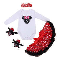 Spring And Autumn Newborn Clothing Sets White Character Romper Red Dot Tutu Dress Shoes Headband 4pcs