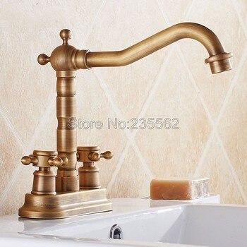 Antique Brass 2 Hole Deck Mounted Dual Cross Handle Bathroom Faucet Swivel Spout Faucets Washbasin Mixer Vessel Sink Taps lnf426