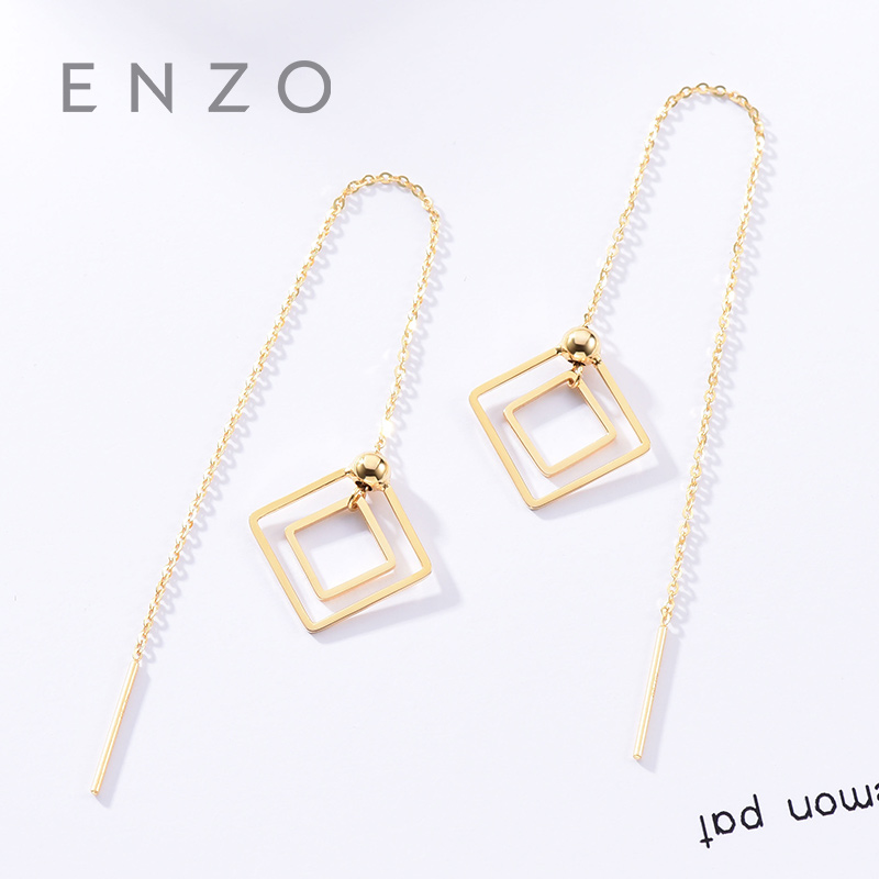 Real 18K Gold Jewelry Square Earring Women Miss Girls Gift Party Female Ear Wire Drop Earrings Solid Hot Sale New Good Trendy