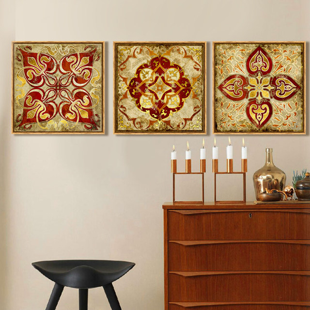 4 Piece Canvas Art Moroccan Style Gold National Decoration Pattern India Home Decor Painting Pictures For Living Room