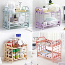 цена на Fashion Solid Color Hollow Plastic Rack 2 Tier Layer Storage Organizer Cabinet Shelf Space Saving Shoe Tower Rack