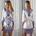 Женская одежда летнее платье 2016 урожай голубой и белый фарфор печать короткие платья с длинным рукавом вывода шеи сексуальное платье роковой