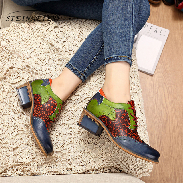 Women oxford pumps shoes vintage leather ladies lace up Spring oxford heels shoes for women green shoes woman 2020 summer