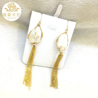 WEICOLOR Irregular White Natural Pearl Drop Earrings With Long Tassels,(Light Gold Mixed)